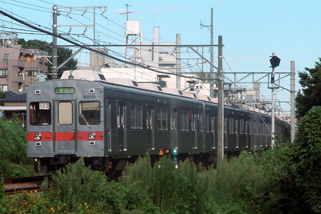 東急8000系8003F | 1999年8月21日 等々力―上野毛 1999年8月21日 等々力